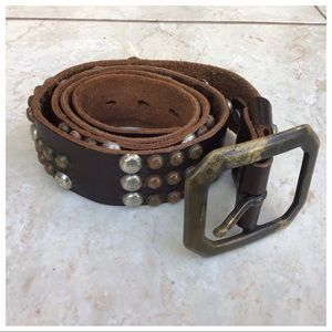 7 For All Mankind Leather Bronze Stud Belt L